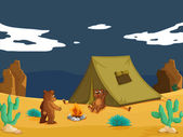 Bears camping — Stock Vector