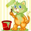 Cat spilling paint - Stock Vector