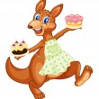 Kangaroo with cakes — Stock Vector #10412616