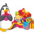 Penguin with gifts — Stock Vector