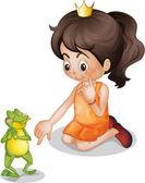 Frog and princess — Stock Vector