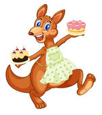 Kangaroo with cakes — Stock Vector