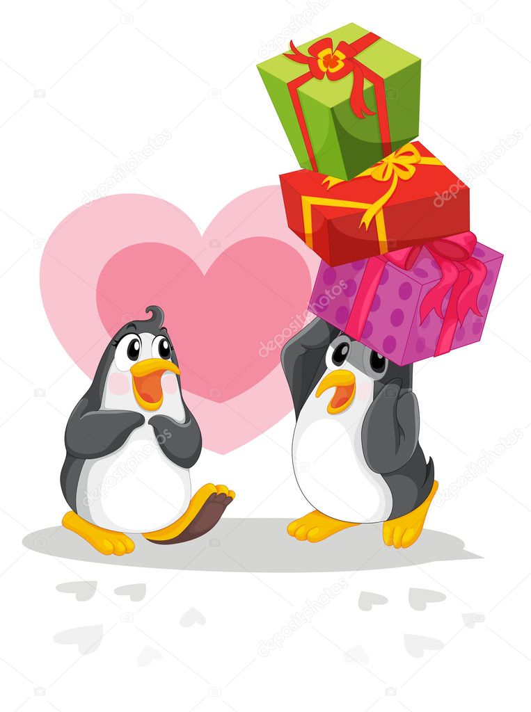 Romantic penguin giving gifts — Stock Vector #10412592