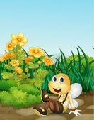 Bee in garden — Stock Vector