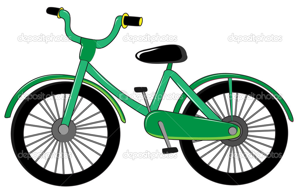 Illustration of small green bike on white  Stock Vector #10456790
