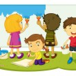Stock Vector: Children painting