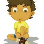 pojken som sitter — Stockvektor