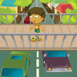 Stock Vector: Boy on overpass