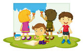 Children painting — Stock Vector