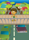 Boy on overpass — Stock Vector