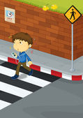 Boy crossing road — Stock Vector