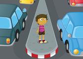 Boy crossing road — Stock Vector