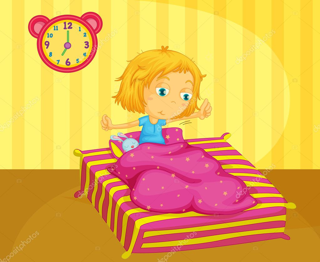 Illustration of cute girl waking — Stock Vector #10481618