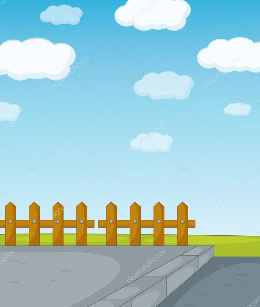 Illustration of a fence and road  Stock Vector #10481840