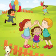 Kids playing in the park - Stock Vector