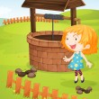 At the well — Stock Vector