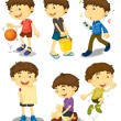 Stock Vector: Boy in five poses