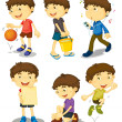Boy in five poses — Stock Vector #10593772
