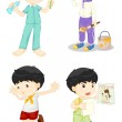 Boy in four poses — Stock Vector