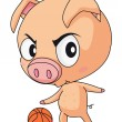 Pig basketball — Stock Vector