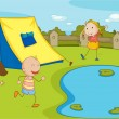 Kids camping — Stock Vector