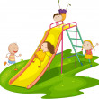 Kids on a slide — Stock Vector