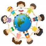 Kids on the world — Stock Vector