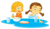 Kids having breakfast — Stock Vector