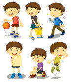 Junge in fünf posen — Stockvektor