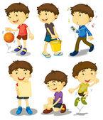 Jongen in vijf poses — Stockvector