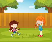 Playing in the backyard — Stock Vector