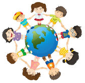 Kids on the world — Stock Vector