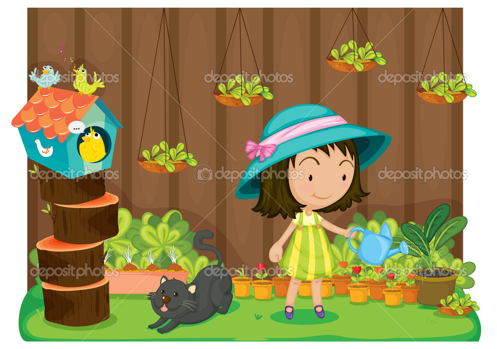 Girl watering plants clipart