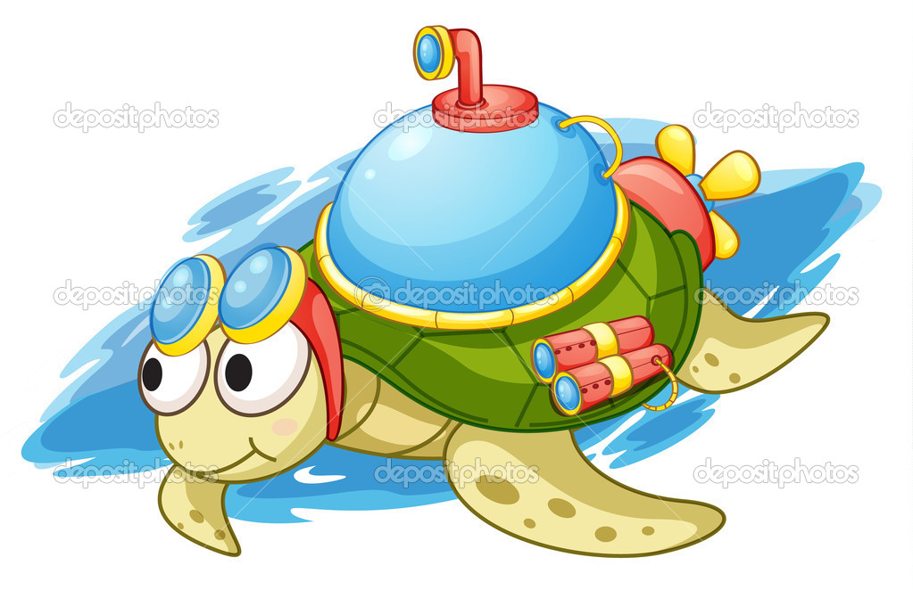 Illustration of a turtle with enhancements — Grafika wektorowa #10655021