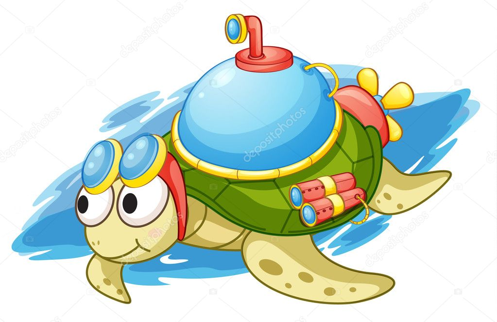 Illustration of a turtle with enhancements — ベクター素材ストック #10655021