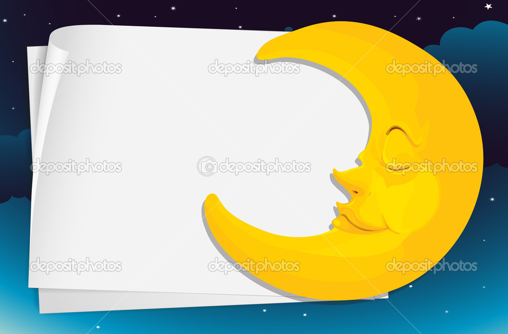 Illustration of moon and paper — Stock Vector #10672547