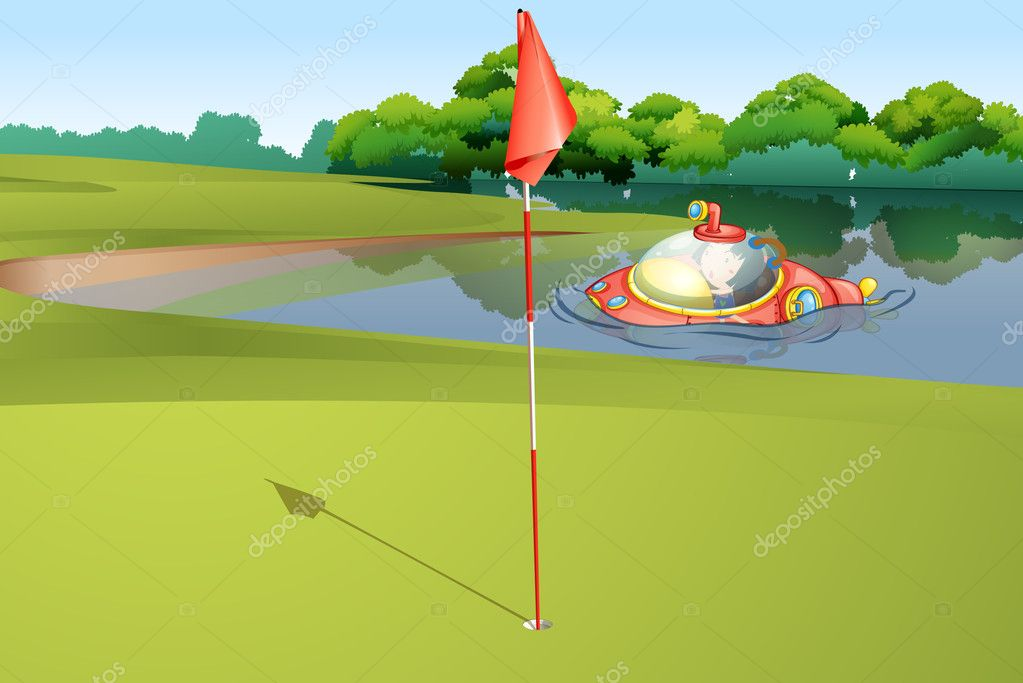 Illustration of  a submarine appearing at a golf course  Stockvectorbeeld #10672552