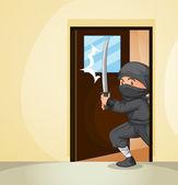 Ninja at home — Stock Vector