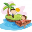 Lovers on an island - Stock Vector