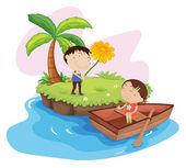Lovers on an island — Stock Vector