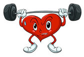 Heart lifting weights — Stock Vector