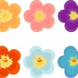 Stock Vector: Flowers of different colours