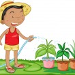 A Boy Watering Plants — Stock Vector