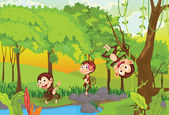 Cheeky monkeys — Stock Vector