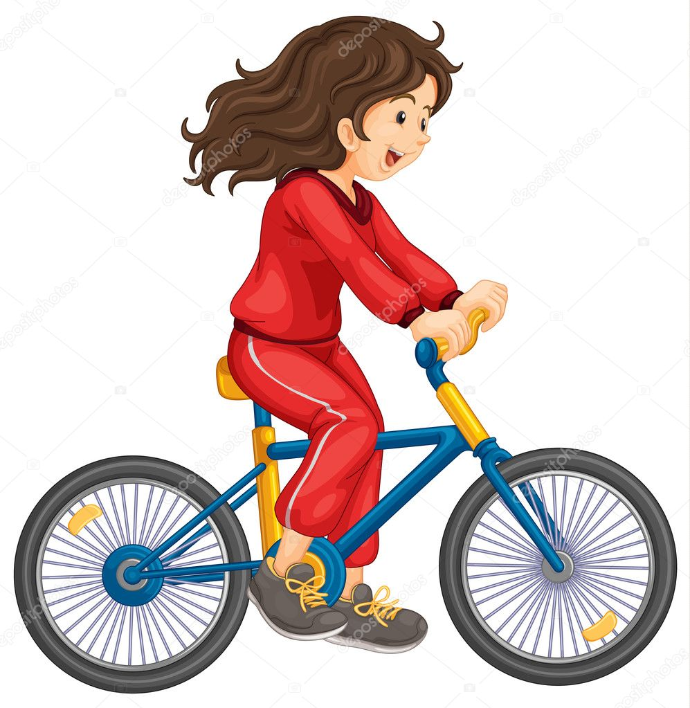 Illustration of girl cycling white background — Stock Vector #9959824