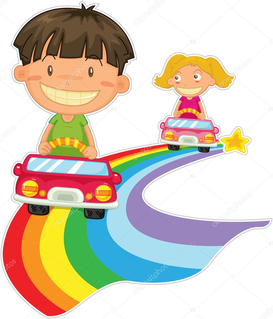 Illustration of kids on white — Stock Vector #9959902