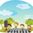 Stock Vector: Children crossing street