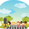 Stock Vector: Children crossing the street