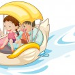 Stock Vector: Children in boat