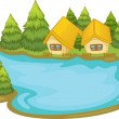 Lake house — Stock Vector